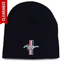 Tri-Bar Pony Knit Cap - Black - AM Accessories 100103