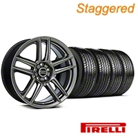 Staggered Laguna Seca Style Hyper Black Wheel & Pirelli Tire Kit - 19x9/10 (05-14 All) - American Muscle Wheels KIT||100105||100106||63101||63102