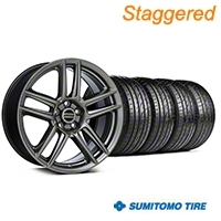 Staggered Laguna Seca Style Hyper Black Wheel & Sumitomo Tire Kit - 19x9/10 (05-14 All) - American Muscle Wheels KIT||100105||100106||63036||63037