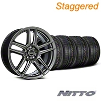 Staggered Laguna Seca Style Hyper Black Wheel & NITTO INVO Tire Kit - 19x9/10 (05-14 All) - American Muscle Wheels KIT||100105||100106||79520||79521