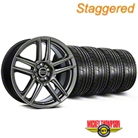 Staggered Laguna Seca Style Hyper Black Wheel & Mickey Thompson Tire Kit - 19x9/10 (05-14 All) - American Muscle Wheels KIT||100105||100106||79539||79540
