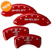MGP Red Caliper Covers w/ Shelby Snake Logo - Front & Rear (11-14 GT, V6) - MGP 10197-S-SBY-RD