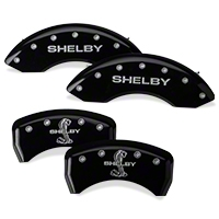 MGP Black Caliper Covers w/ Shelby Snake Logo - Front & Rear (05-10 GT, V6) - MGP 10197SSBYBK