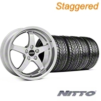 MMD Staggered Kage Polished Wheel & NITTO Tire Kit - 18x9/10 (05-14 V6; 05-10 GT) - MMD KIT||100267||100268||76009||76010