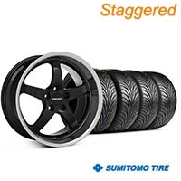 MMD Staggered Kage Black Wheel & Sumitomo Tire Kit - 18x9/10 (05-14 V6; 05-10 GT) - MMD KIT||100265||100266||63008||63009