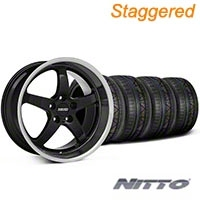 MMD Staggered Kage Black Wheel & NITTO INVO Tire Kit - 18x9/10 (05-14 V6; 05-10 GT) - MMD KIT||100265||100266||79522||79523