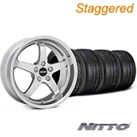 MMD Staggered Kage Polished Wheel & NITTO INVO Tire Kit - 18x9/10 (05-14 V6; 05-10 GT) - MMD KIT||100267||100268||79522||79523