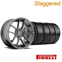 Niche Staggered Targa Anthracite Wheel & Pirelli Tire Kit - 19x8.50/9.5 (05-14 All) - Niche KIT||100197||100198||63101||63102