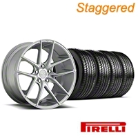 Niche Staggered Targa Matte Silver Wheel & Pirelli Tire Kit - 19x8.5/9.5 (05-14 All) - Niche KIT||100199||100200||63101||63102
