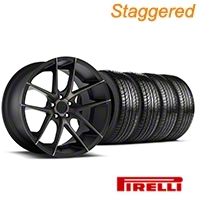 Niche Staggered Targa Black Wheel & Pirelli Tire Kit - 19x8.5/9.5 (05-14 All) - Niche KIT||100201||100202||63101||63102