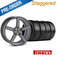 MMD Staggered 551C Charcoal Wheel & Pirelli Tire Kit - 19x8.5/10 (05-14 All) - MMD KIT||100253||100254||63101||63102