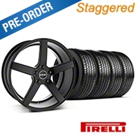 MMD Staggered 551C Black Wheel & Pirelli Tire Kit - 19x8.5/10 (05-14 All) - MMD KIT||100255||100256||63101||63102