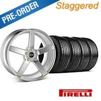 MMD Staggered 551C Silver Wheel & Pirelli Tire Kit - 19x8.5/10 (05-14 All) - MMD KIT||100257||100258||63101||63102