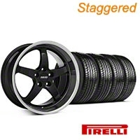 MMD Staggered Kage Black Wheel & Pirelli Tire Kit - 19x8.5/10 (05-14 GT,V6) - MMD KIT||100269||100270||63101||63102