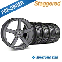 MMD Staggered 551C Charcoal Wheel & Sumitomo Tire Kit - 19x8.5/10 (05-14 All) - MMD KIT||100253||100254||63036||63037