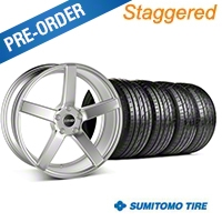 MMD Staggered 551C Silver Wheel & Sumitomo Tire Kit - 19x8.5/10 (05-14 All) - MMD KIT||100257||100258||63036||63037