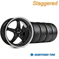 MMD Staggered Kage Black Wheel & Sumitomo Tire Kit - 19x8.5/10 (05-14 GT,V6) - MMD KIT||100269||100270||63036||63037