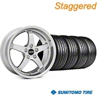 MMD Staggered Kage Polished Wheel & Sumitomo Tire Kit - 19x8.5/10 (05-14 GT,V6) - MMD KIT||100271||100272||63036||63037