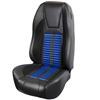 TMI Premium Sport R500 Upholstery & Foam Kit - Black Vinyl & Blue Stripe/Stitch (87-93 All) - TMI 46-73512K-6525-99-121-BS