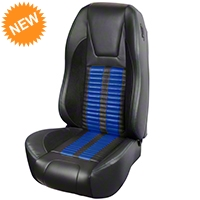 TMI Premium Sport R500 Upholstery & Foam Kit - Black Vinyl & Blue Stripe/Stitch (87-93 All) - TMI PARENT