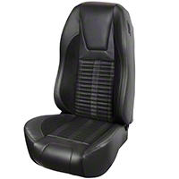 TMI Premium Sport R500 Upholstery & Foam Kit - Black Vinyl & Black Stripe/Stitch (87-93 All) - TMI 46-73512K-6525-99-958-BKS