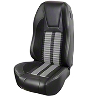 TMI Premium Sport R500 Upholstery & Foam Kit - Black Vinyl & Gray Stripe/Stitch (87-93 All) - TMI 46-73512K-6525-99-958-GS