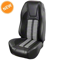TMI Premium Sport R500 Seat Upgrade - Black Vinyl & Gray Stripe/Stitch (87-93 All) - TMI PARENT