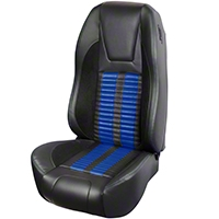 TMI Premium Sport R500 Upholstery & Foam Kit - Black Vinyl & Blue Stripe/Stitch (94-98 All) - TMI 46-76500K-6525-99-121-BS||46-76501K-6525-99-121-BS