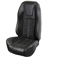 TMI Premium Sport R500 Upholstery & Foam Kit - Black Vinyl & Black Stripe/Stitch (94-98 All) - TMI 46-76500K-6525-99-121-BS||46-76501K-6525-99-958-BKS