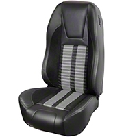 TMI Premium Sport R500 Upholstery & Foam Kit - Black Vinyl & Gray Stripe/Stitch (94-98 All) - TMI 46-76501K-6525-99-972-GS