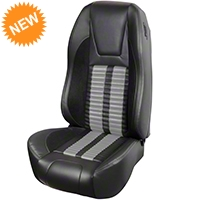 TMI Premium Sport R500 Seat Upgrade - Black Vinyl & Gray Stripe/Stitch (94-98 All) - TMI Parent