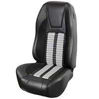 TMI Premium Sport R500 Upholstery & Foam Kit - Black Vinyl & White Stripe/Stitch (87-93 All) - TMI 46-73512K-6525-99-2305-WS