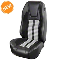 TMI Premium Sport R500 Seat Upgrade - Black Vinyl & White Stripe/Stitch (87-93 All) - TMI PARENT