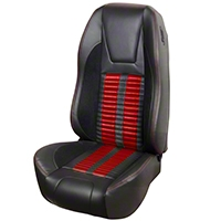 TMI Premium Sport R500 Upholstery & Foam Kit - Black Vinyl & Red Stripe/Stitch (87-93 All) - TMI 46-73512K-6525-99-7300-RS