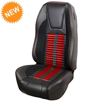 TMI Premium Sport R500 Seat Upgrade - Black Vinyl & Red Stripe/Stitch (87-93 All) - TMI PARENT