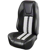 TMI Premium Sport R500 Upholstery & Foam Kit - Black Vinyl & White Stripe/Stitch (94-98 All) - TMI 46-76500K-6525-99-2305-WS||46-76501K-6525-99-2305-WS