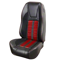 TMI Premium Sport R500 Upholstery & Foam Kit - Black Vinyl & Red Stripe/Stitch (94-98 All) - TMI 46-76501K-6525-99-7300-RS