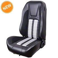 TMI Premium Sport R500 Upholstery & Foam Kit - Black Vinyl & White Stripe/Stitch (99-04 All) - TMI Parent