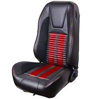 TMI Premium Sport R500 Upholstery & Foam Kit - Black Vinyl & Red Stripe/Stitch (99-04 All) - TMI 46-76510K-6525-99-7300-RS||46-76511K-6525-99-7300-RS