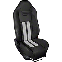 TMI Premium Sport R500 Upholstery & Foam Kit - Black Vinyl & White Stripe/Stitch (05-07 All) - TMI 46-78500K-6525-99-2305-WS||46-78501K-6525-99-2305-WS