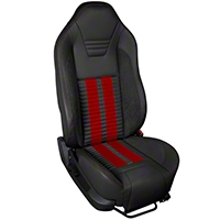 TMI Premium Sport R500 Upholstery & Foam Kit - Black Vinyl & Red Stripe/Stitch (05-07 All) - TMI 46-78500K-6525-99-7300-RS||46-78501K-6525-99-7300-RS
