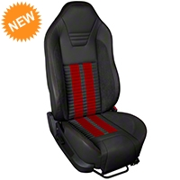 TMI Premium Sport R500 Seat Upgrade - Black Vinyl & Red Stripe/Stitch (05-07 All) - TMI PARENT