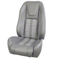 TMI Premium Sport R500 Upholstery & Foam Kit - Gray Vinyl & White Stripe/Stitch (87-93 All) - TMI 46-73512K-972-7042-2305-WS