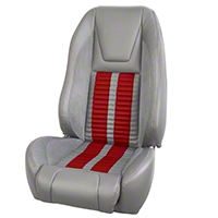 TMI Premium Sport R500 Upholstery & Foam Kit - Gray Vinyl & Red Stripe/Stitch (87-93 All) - TMI 46-735012K-953-7042-7300-RS