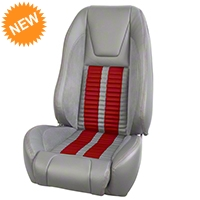 TMI Premium Sport R500 Seat Upgrade - Gray Vinyl & Red Stripe/Stitch (87-93 All) - TMI PARENT
