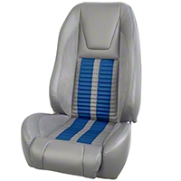 TMI Premium Sport R500 Upholstery & Foam Kit - Gray Vinyl & Blue Stripe/Stitch (87-93 All) - TMI 46-73512K-953-7042-121-BS