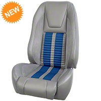 TMI Premium Sport R500 Upholstery & Foam Kit - Gray Vinyl & Blue Stripe/Stitch (87-93 All) - TMI PARENT