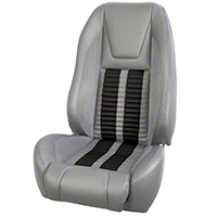 TMI Premium Sport R500 Upholstery & Foam Kit - Gray Vinyl & Black Stripe/Stitch (87-93 All) - TMI 46-73512K-953-7042-958-BKS