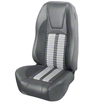TMI Premium Sport R500 Upholstery & Foam Kit - Gray Vinyl & White Stripe/Stitch (94-98 All) - TMI 46-76501K-6687-7042-2305-WS