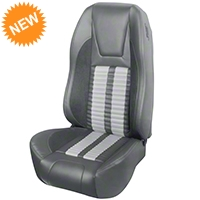 TMI Premium Sport R500 Seat Upgrade - Gray Vinyl & White Stripe/Stitch (94-98 All) - TMI PARENT